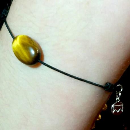 Bracelet cordon gris Lapis lazulis