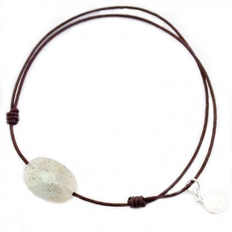 Bracelet cordon marron Labradorite facettée