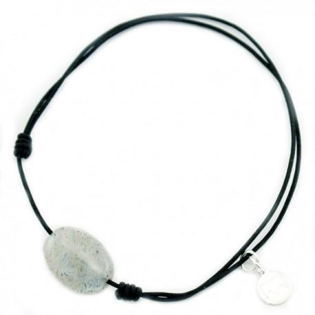 Bracelet cordon Noir Labradorite