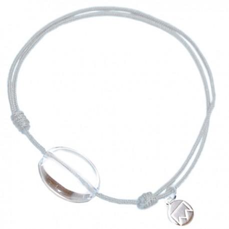 Bracelet cordon Gris Cristal de roche