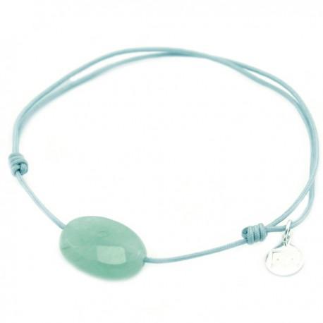 Bracelet cordon noir aventurine verte facettée