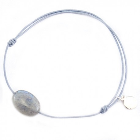 Bracelet cordon Gris Labradorite