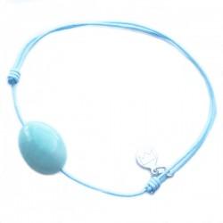 Bracelet cordon bleu Amazonite pendant argent massif