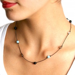 Collier cordon 12 pierres multico fermoir argent massif