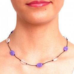Collier cordon 5 jades violets et 4 cristal de roche fermoir argent massif