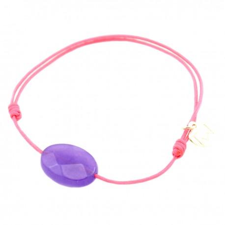 Bracelet jade violet facetté cordon fushia pendant argent massif