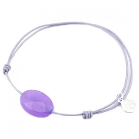 Bracelet jade violet facetté cordon gris pendant argent 925 massif 925