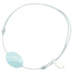 Bracelet cordon gris jade bleu facetté