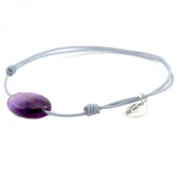 Bracelet cordon gris Améthyste facettée