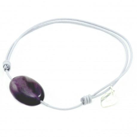 Bracelet cordon gris Améthyste