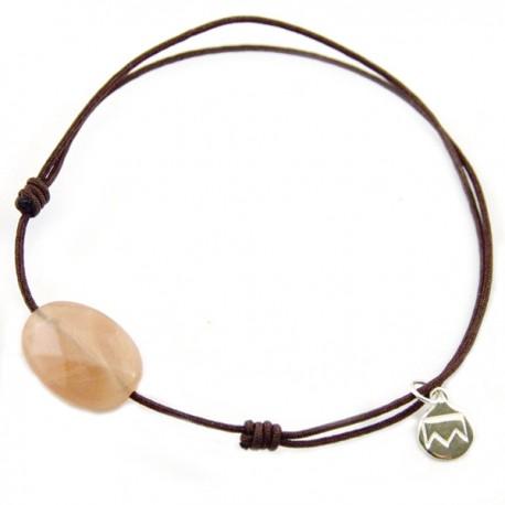 Bracelet cordon marron Pierre de lune facettée