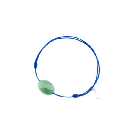Bracelet cordon bleu Aventurine verte facettée