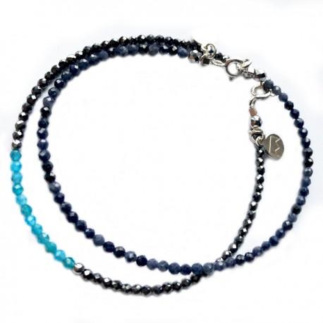 Ensemble 2 bracelets amazonites et multi pierre