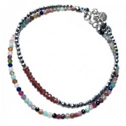 Ensemble 2 bracelets labradorites lisses et onyx facettés