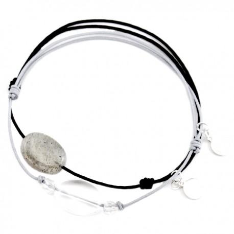 Ensemble 2 bracelets cordon noir labradorite et 3 cristal de roche gris