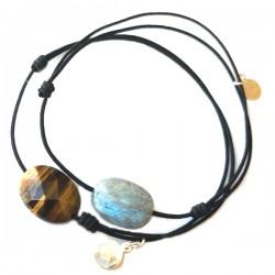 Ensemble 2 bracelets cordon noir 1 labradorite et noir 3 cristal de roches