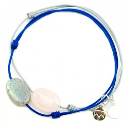 Ensemble 2 bracelets cordon bleu labradorite et cordon gris quartz rose