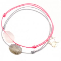 Ensemble 2 bracelets cordon bleu labradorite et gris quartz rose