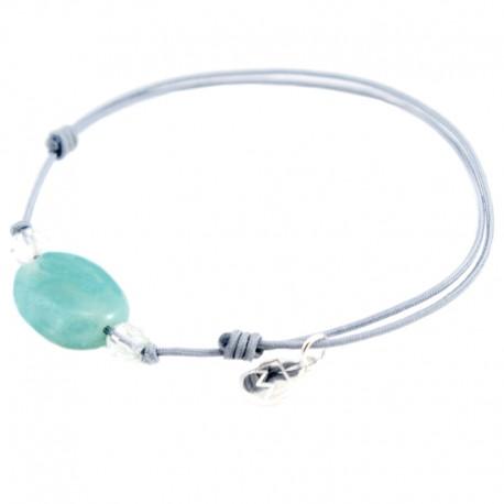 Bracelet 3 pierres amazonite et cristal de roche cordon gris pendant argent massif