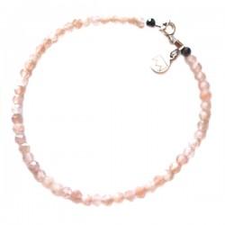 Bracelet pierres de lunes orangées facettées