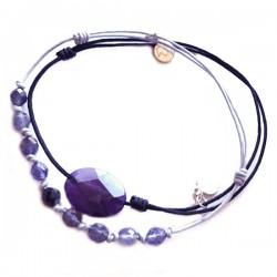 Ensemble 2 bracelets cordon gris labradorite et bleu aventurine verte facettée