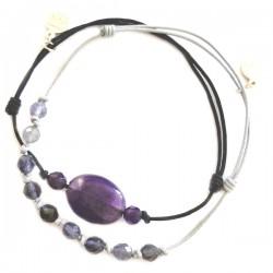 Ensemble 2 bracelets iolites et améthyste