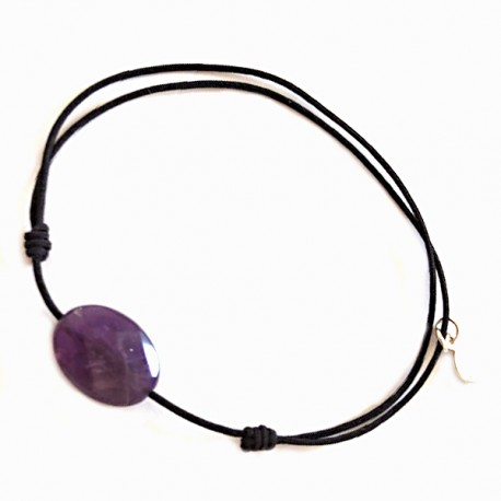 Bracelet cordon Noir Améthyste facettée