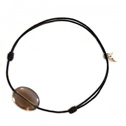 Bracelet cordon gold quartz fumé facetté pendant argent massif