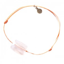 Bracelet cordon rose Quartz rose