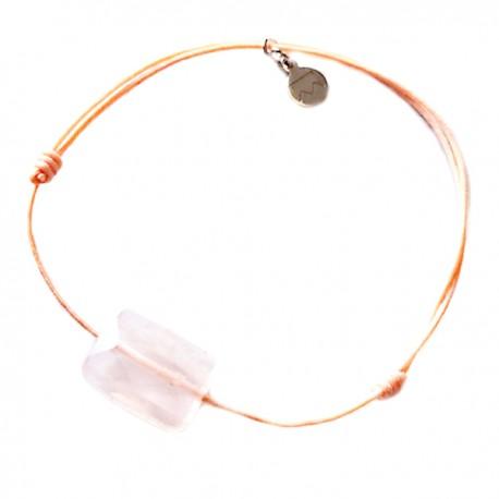 Bracelet cordon rose Quartz rose