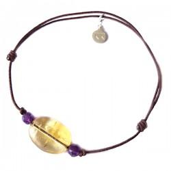 Bracelet 3 pierres améthystes et citrine