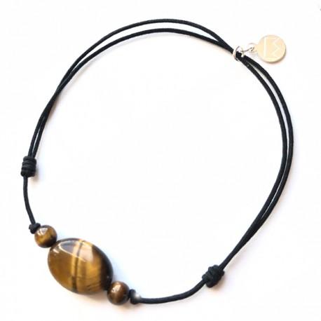 Bracelet 3 pierres oeil de tigre cordon marron pendant argent massif 925