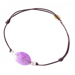 Bracelet 3 pierres quartz roses et améthyste claire