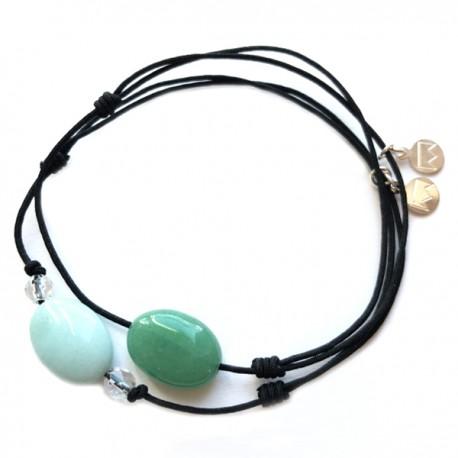 Ensemble 2 bracelets cordon gris quartz rose et cordon jaune labradorite