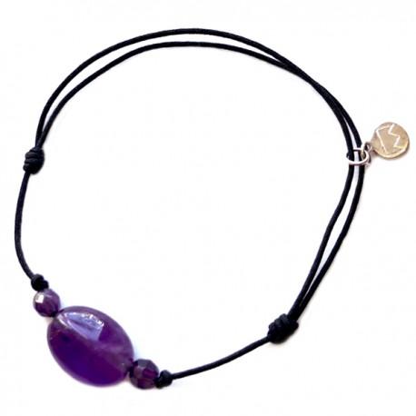 Bracelet 3 pierres améthystes cordon noir pendant argent massif 925