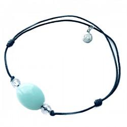 Bracelet 3 pierres amazonite et cristal de roche cordon noir pendant argent massif