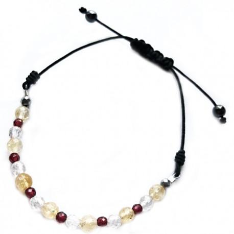 Bracelet cordon fushia 11 Cristaux de roches