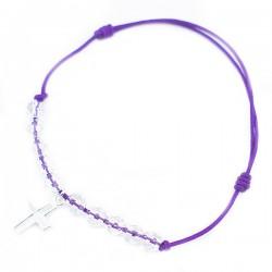 Bracelet de communion violet fushia 10 cristaux de roches