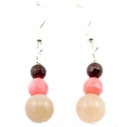 Boucles d'oreilles argent massif 925 Pierre de lune, corail rose et grenat