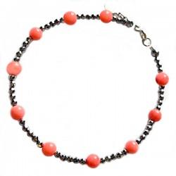 Bracelet corail hématite