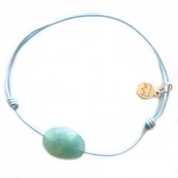 Bracelet cordon gris aventurine facettée