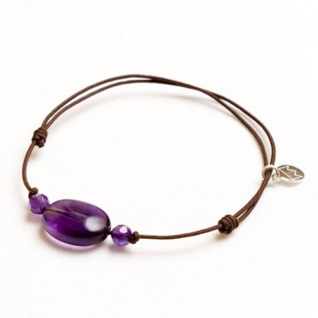 Bracelet 3 pierres Améthyste cordon marron pendant argent massif 925