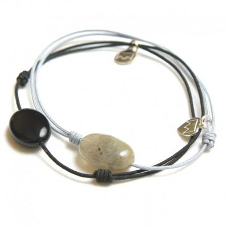 Ensemble 2 bracelets cordon noir Onyx / gris Labradorite