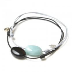 Ensemble 2 bracelets cordon noir onyx / gris Amazonite
