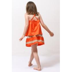 Top JULIE à bretelle croisé dans le dos jersey coton bio orange