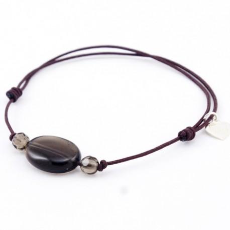 Bracelet 3 pierres Quartz fumés cordon marron pendant argent massif 925