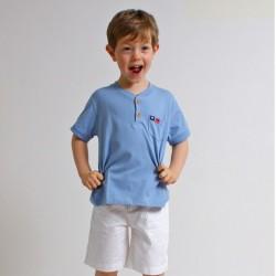 T-shirt ALEX col tunisien coton bio bleu