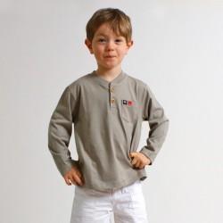 T-shirt BOB manches longues col tunisien coton jersey bio