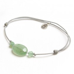Bracelet 3 Aventurines vertes cordon gris pendant argent massif 925