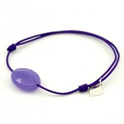 Bracelet cordon violet jade violet facetté pendant argent massif
